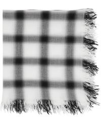 Attachment - White And Black Rayon Silk Check Scarf - Lyst