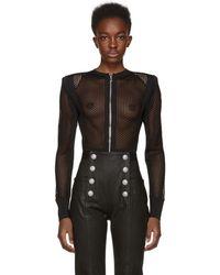 Balmain - Black Mesh Bodysuit - Lyst