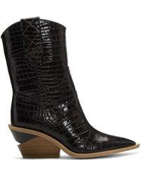 Fendi - Ssense Exclusive Black Croc Cowboy Boots - Lyst