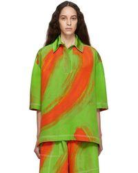 Loewe - Green And Orange Oversize Print Polo - Lyst