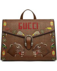 Gucci - Brown Hand-painted Dionysus Briefcase - Lyst