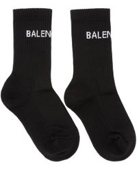Balenciaga - Black New Logo Tennis Socks - Lyst