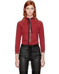 Unravel - Red Hooded Zip Bodysuit - Lyst