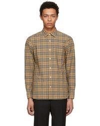 Burberry - Beige Plaid Alexander Shirt - Lyst