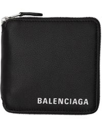 Balenciaga - Black Square Logo Zip Wallet - Lyst