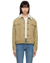Rag & Bone - Khaki Corduroy Oversized Shearling Collar Jacket - Lyst