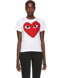 Play Comme des Garçons - White Double Large Heart T-shirt - Lyst