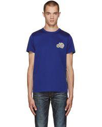 Moncler - Blue Logo T-shirt - Lyst