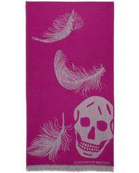 Alexander McQueen - Pink And Grey Oversized Skulls Scarf - Lyst