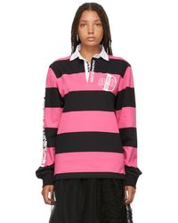 Opening Ceremony - Pink And Black Striped Rugby Long Sleeve Polo - Lyst