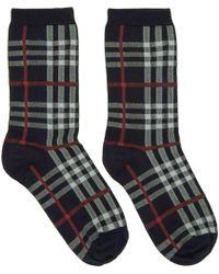 Burberry - Navy Vintage Check Socks - Lyst