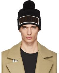 a628616ee30 Fendi Wool Beanie Hat Monster Eyes in Black for Men - Lyst