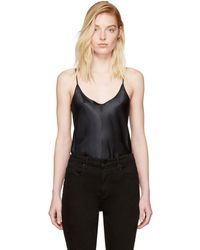 T By Alexander Wang - Black Silk Charmeuse Cami Bodysuit - Lyst