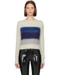 Rag & Bone - White And Blue Holland Crop Sweater - Lyst