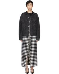Balenciaga - Black Fringes Blanket Denim Jacket - Lyst