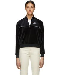 Nike - Black Velour Half-zip Sweatshirt - Lyst