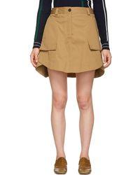 Carven - Tan Panelled Miniskirt - Lyst