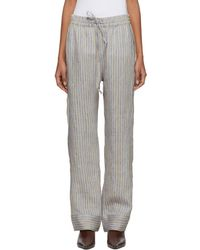 Acne Studios - Beige And Blue Stripe Marceline Sketch Lounge Pants - Lyst