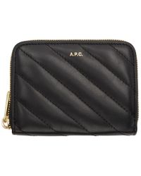 A.P.C. - Black Lison Quilted Compact Wallet - Lyst