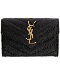 Saint Laurent - Black Small Envelope Foldover French Wallet - Lyst