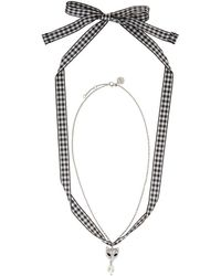 Miu Miu - Silver Cat And Pearl Charm Necklace - Lyst