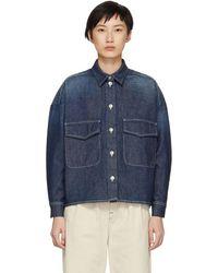 MM6 by Maison Martin Margiela - Indigo Garage Wash Denim Shirt Jacket - Lyst