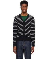 BOSS - Navy And White Striped Knit Cardigan - Lyst
