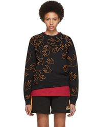 McQ - Black And Orange Embroidered Swallow Signature Sweatshirt - Lyst