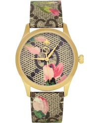Gucci - Gold And Multicolor Floral GG G-timeless Watch - Lyst