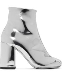 MM6 by Maison Martin Margiela - Silver Square Heel Boots - Lyst