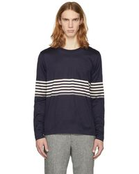 Paul Smith - Navy Long Sleeve Chest Stripe T-shirt - Lyst