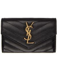 Saint Laurent - Black Small Monogramme Envelope Wallet - Lyst