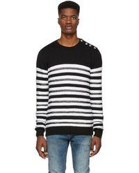 Balmain - Black And White Striped Nautical Jumper - Lyst