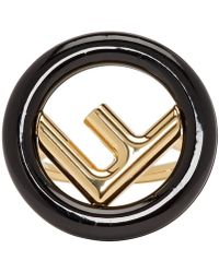 Fendi - Gold And Black F Is Ring - Lyst