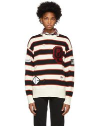 Opening Ceremony - White Stripe Varsity Sweater - Lyst