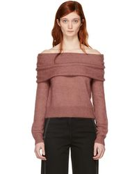 Rag & Bone - Pink Mini Mohair Off-the-shoulder Knit Jumper - Lyst