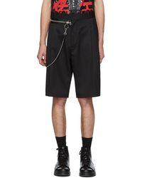 DSquared² - Black Wool Chain Rapper Shorts - Lyst