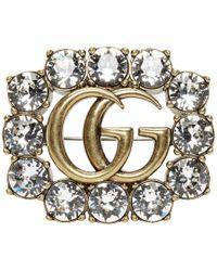 40a95298f21 Gucci - Gold Crystal GG Brooch - Lyst