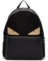193764a3c3b0 Fendi - Black And Gold Bag Bugs Backpack - Lyst