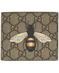 Gucci - Beige Gg Supreme Bee Wallet - Lyst