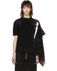 Sacai - Black Knit Lace Sweater - Lyst