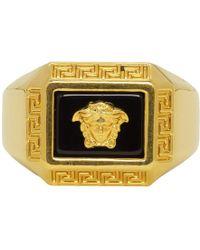 Versace - Gold Medusa Square Ring - Lyst