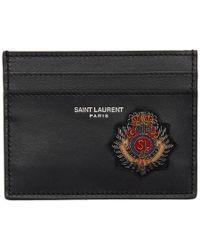 Saint Laurent - Logo Badge Cardholder - Lyst