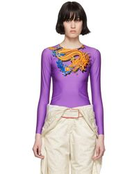 Marine Serre - Purple Dragon Long Sleeve T-shirt - Lyst