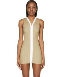 Calvin Klein - Beige Ribbed Knit Red Dress - Lyst