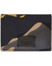Valentino - Yellow And Black Garavani Camo Card Holder - Lyst