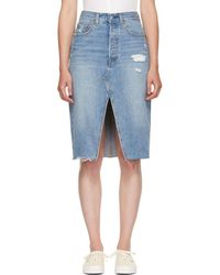 Levi's - Blue Denim Deconstructed Skirt - Lyst