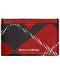 Alexander McQueen - Red And Black Argyle Card Holder - Lyst