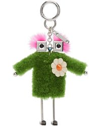 Fendi - Green Shearling Teen Witch Charm Keychain - Lyst