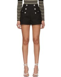 Balmain - Black High-waisted Double-breasted Shorts - Lyst